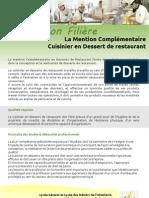 Présentation filière MC Cuisinier en Dessert de Restaurant