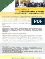 Information Filière Mise à Niveau Préparatoire au B.T.S. Hôtellerie & Restauration