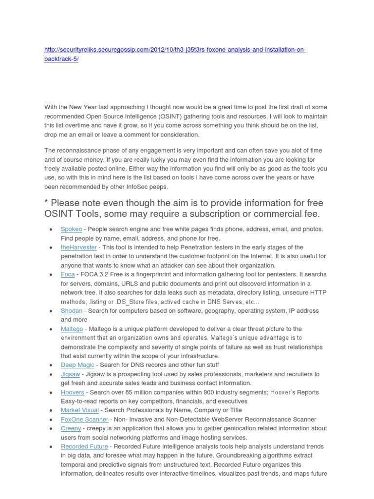 OSINT Free Tools | Twitter | Wi Fi