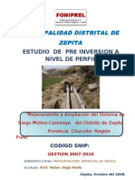 Perfil de Irrigacion Molino Camiraya