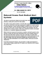 Crime Solvers  Report 8-21 thru 8-27 2013