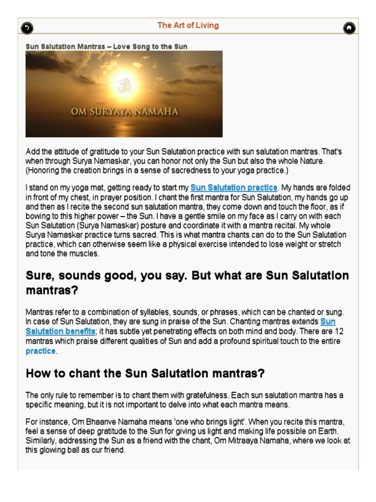 Sun Salutation Mantras _ Surya Namskar Mantras Meaning _ the