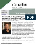 2013 08 30 DC Maryland Virginia Medical Malpractice Lawyer Karen Evans Joins the Cochran Firm DC