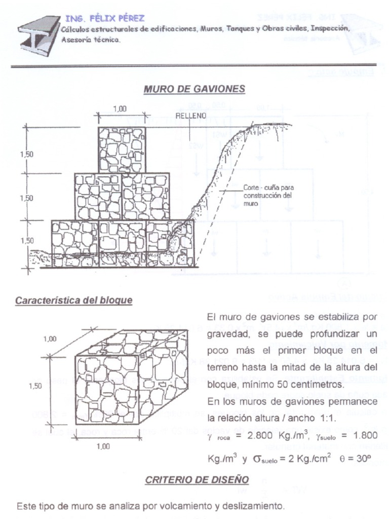diseo de muros de gaviones - Muro De Gaviones