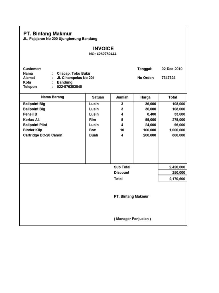 hotel invoice format
