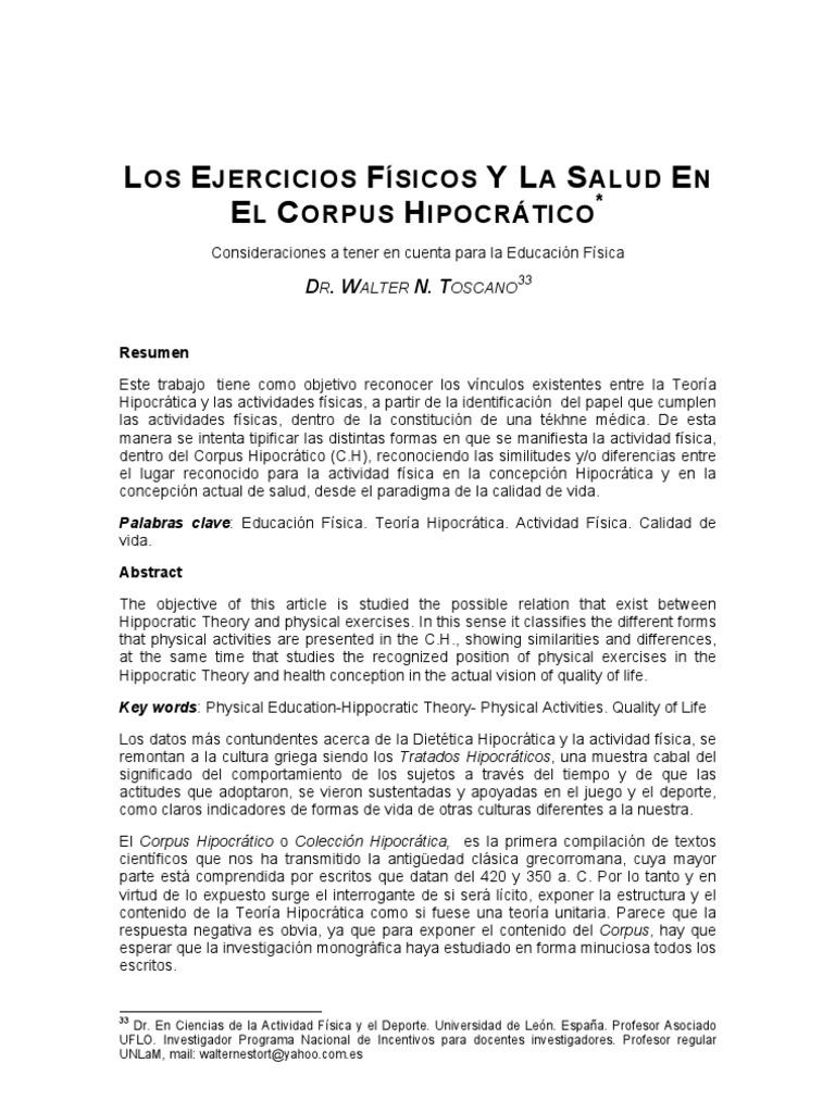 Los Ejercicios Fisicos y La Salud en El Corpus Hipocratico