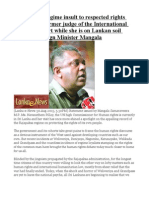 Rajapaksha Regime Insult to Respected Rights Activist and Former Judge of the International Criminal Court While She is on Lankan Soil -Former Foreign Minister Mangala