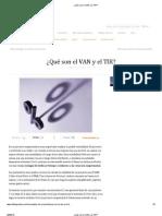 ¿Qué son el VAN y el TIR_