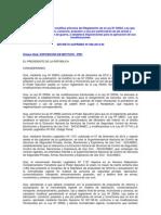 Decreto Supremo que modifica artículos del Reglamento de la Ley Nº 25054