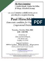 Reception for Paul Hirschbiel