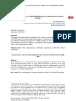 GUERRA, POLÍTICA Y CULTURA EN LA GÉNESIS DE LA INDEPENDENCIA ANDINA, 1808-1815