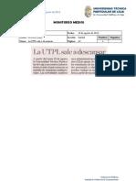 Informe de prensa semana del 9 al 30 de agosto de 2013