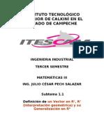 1.1 Definición Vectores R2 R3 Y su Generalización en Rn, Ing. Julio C. Pech Salazar, 2007-2008