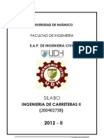 Silabo Ing. de Carreteras II 2012-II