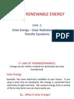 Unit 1 Solar Energy