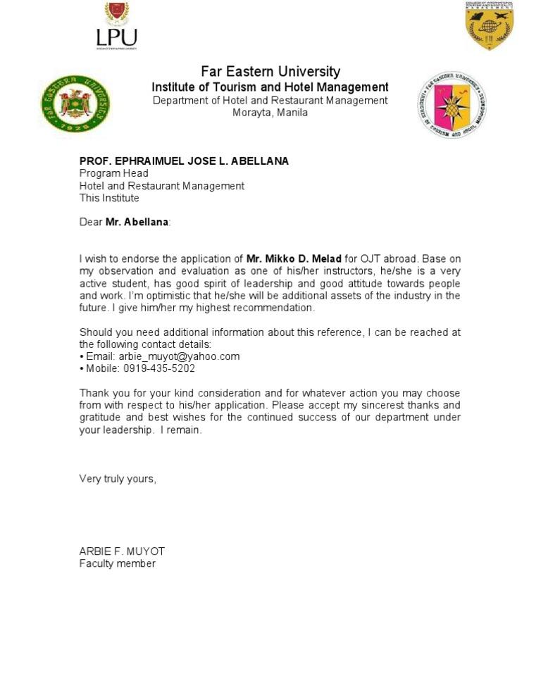 Recommendation letter for ojt 2 expocarfo Images