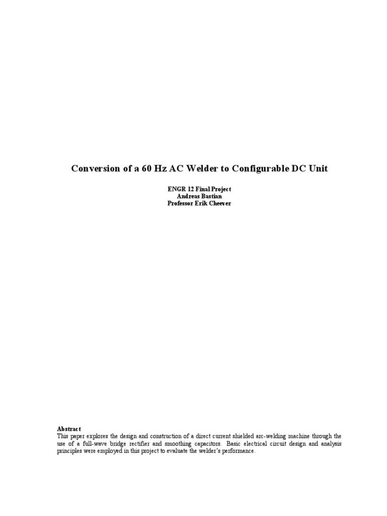 Welder Report | Capacitor | Welding