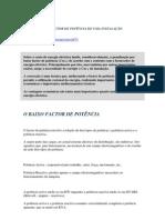 CORRECÇÃO DO FACTOR DE POTÊNCIA DE UMA INSTALAÇÃO ELÉCTRICA