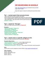 Tips for Searching in Google En