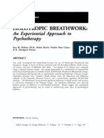 HOLOTROPIC BREATHWORK an Experiential Approach to Psychotherapy; Sara W Holmes (Vol 12 No 2)