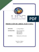 MONOGRAFÍA PRODUCCIÓN DE MAIZ, ARROZ Y SOYA EN BOLIVIA