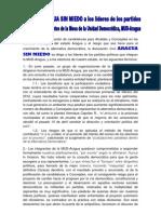 Aragua sin Miedo a la MUD-Aragua ante la proliferación de candidatos para las Elecciones Municipales 2013