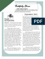 September 2013 Newsletter for Faith Lutheran Church