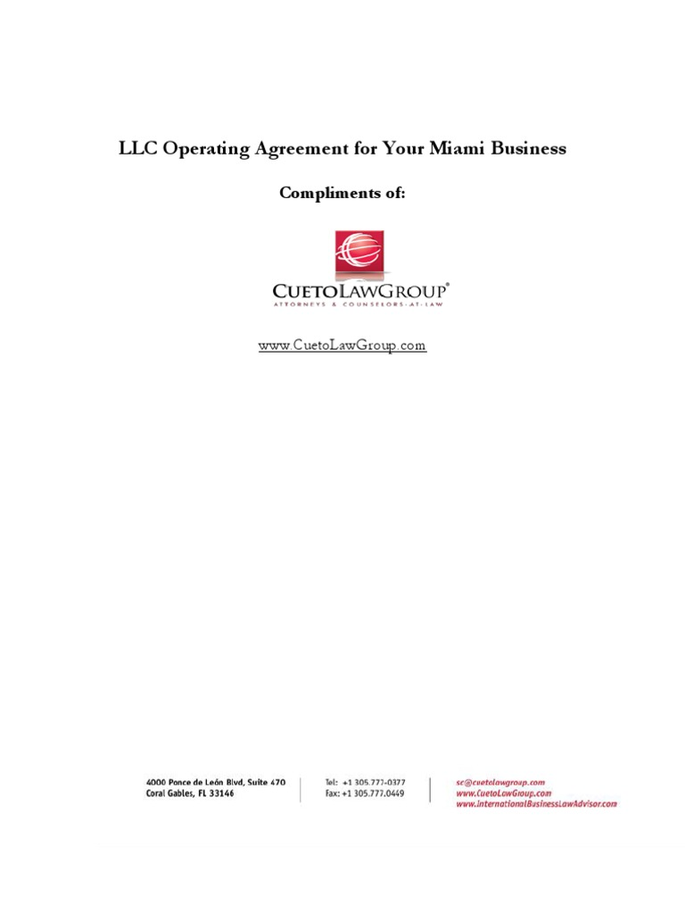 Llc Operating Agreement For Your Miami Business Limited Liability