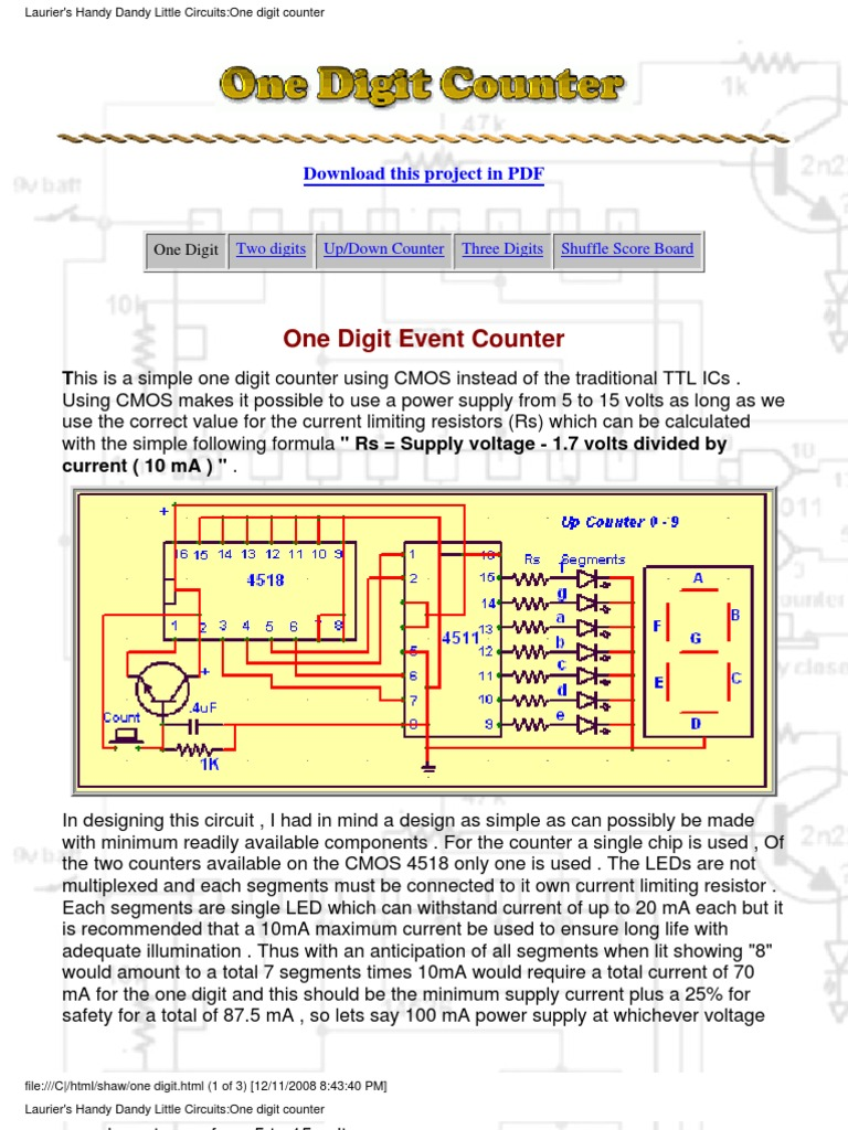 One Digits Electronic Circuits Cmos Ttl Inverter Oscillator