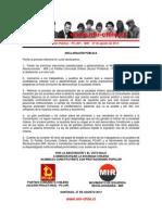 Declaración Pública - PC(AP) - MIR - 27 de agosto de 2013