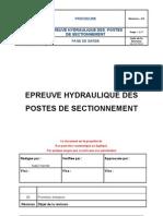 Epreuve Hydraulique Des Postes de Sectionnement