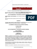 Ley de Transporte y Vialidad Del Distrito Federal