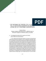 Los Sistemas de Control de la calidad de la Educacion Sup. en America Latina en La III Reforma Universitaria