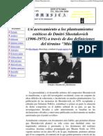 Un acercamiento a los planteamientos estéticos de Dmitri Shostakovich (1906-1975) a través de dos definiciones del término Música.