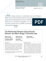 The Relationship Between Eating Disorder Bevhavior and Myers-Briggs Personality Type