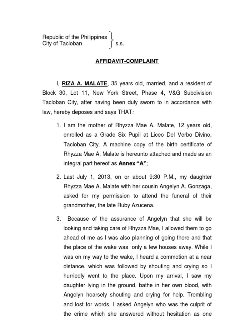 COMPLAINT AFFIDAVIT MUrder.docx | Government | Politics  Affidavit Of Sworn Statement