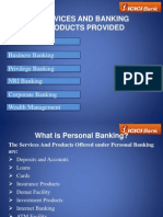 Services and Banking Products Provided