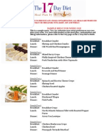 17 Day Diet Meal Plan Sample Menu 1-4-2011