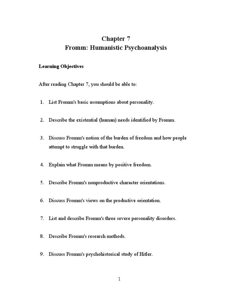 Feist7e Sg Ch07 Erich Fromm Psychoanalysis