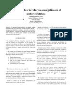 Análisis sobre la reforma energética en el sector eléctrico 1