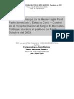 Factores de Riesgo de Hemorragia Posparto