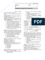 1o ano - Lista exercícios Introdução à Biologia