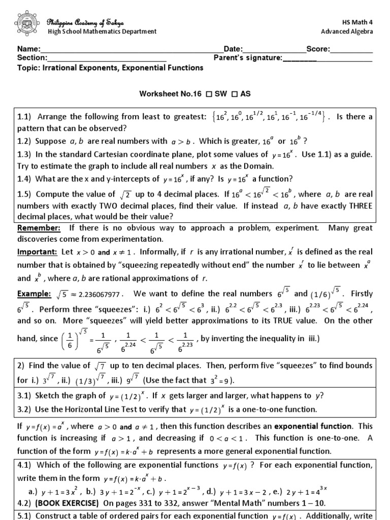 WS16-Irrational Exponents and Exponential Functions ...