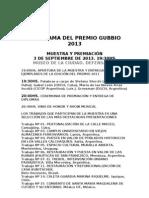 PROGRAMA DEL PREMIO GUBBIO 2013 difusión