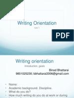 Writing Orientation 2012