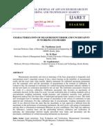 Characterization of Measurement Error and Uncertainty in Working Standards