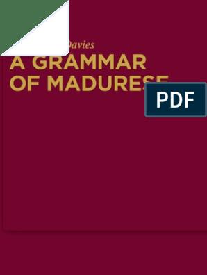 Grammar of Madurese Mouton Grammar Library pdf Verb
