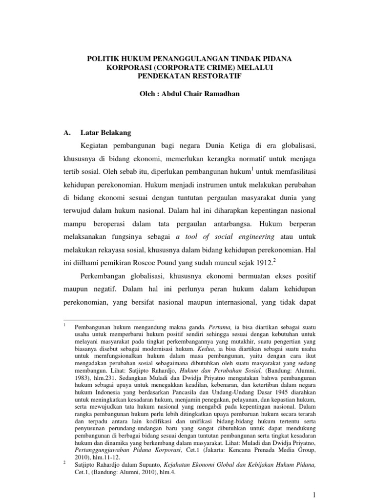 Tindak Pidana Ekonomi Tugas Acr Prof Hartiwi
