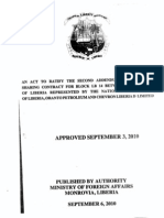An Act Ratifying the Production Sharing Contract Between the National Oil Company of Liberia, Oranto & Chevron-LB 14 Second Addendum Septem 3, 2010