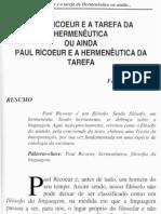 Paul Ricoeur e a Tarefa Da Hermeneutica